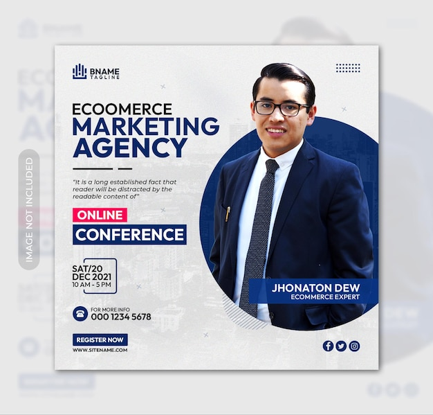 Ecommerce marketing agency square flyer or instagram banner social media post template