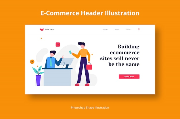 Ecommerce payment gateway web template with flat illustration