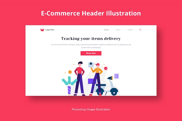 Ecommerce services delivery web template with flat illustration