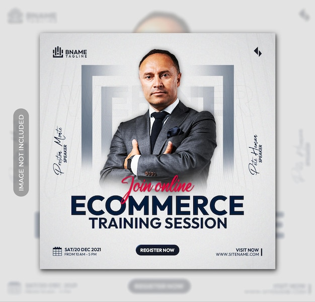 Ecommerce training session square flyer or instagram social media post template