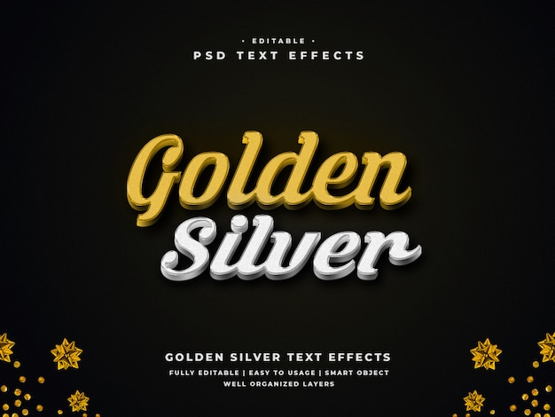 Editable 3d golden silver text style effect