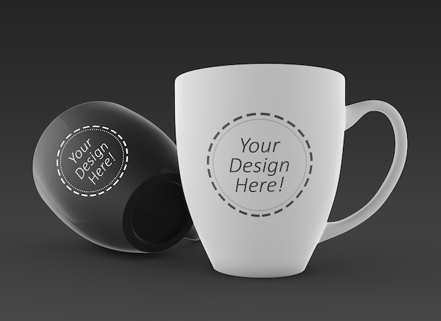 Editable 3d mockup design template of two coffee mugs