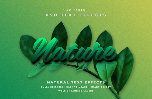 Editable 3d nature text style effect