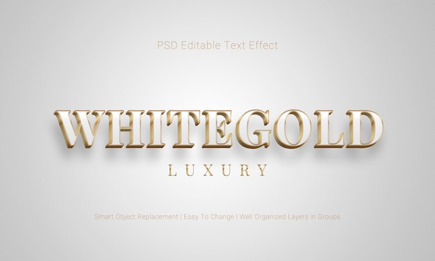 Редактируемый эффект 3d-текста в белой и золотой цветовой гамме и плавающий стиль
