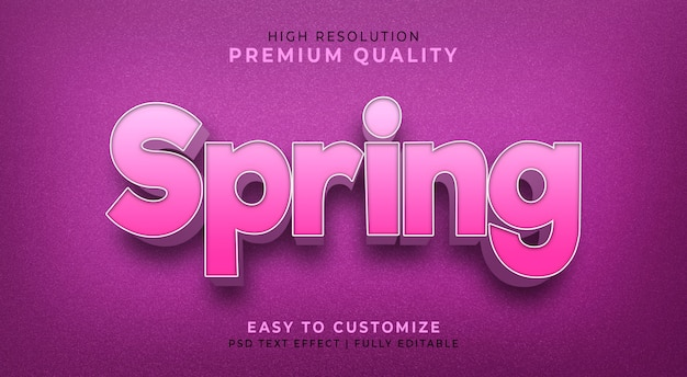 Editable 3d text style effect psd  with  spring's flower color
