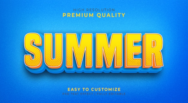 Editable 3d text style effect psd  with  summer color