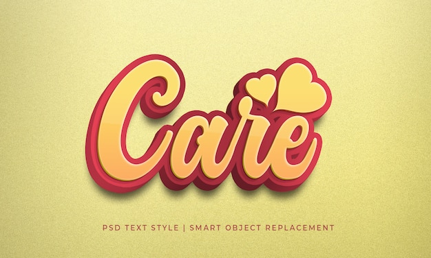 Editable 3d text style psd effect with lovely care red color