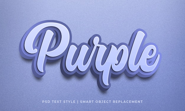 Editable 3d text style psd effect with purple color