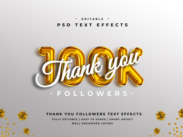Editable 3d thank you 100k followers text style effect