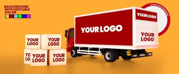 색상 배경을 변경할 수 있는 편집 가능한 3d 트럭 목업