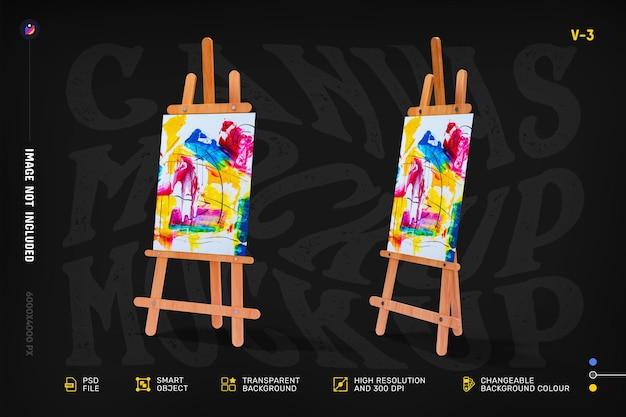 Editable artist canvas stand mockup design