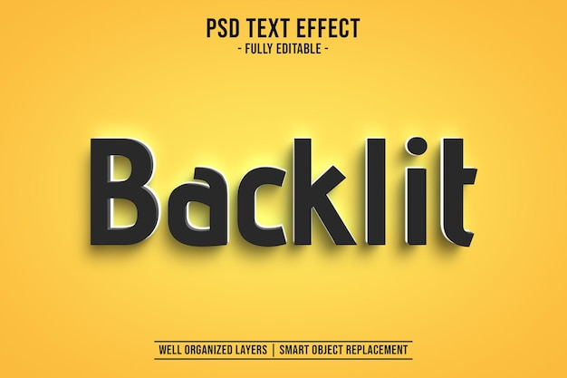 Editable backlit text style effect