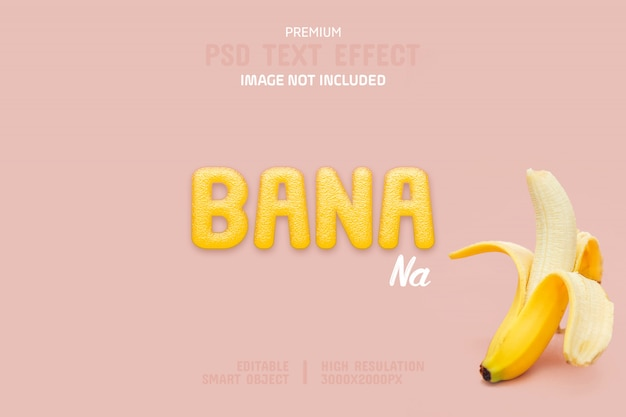 Editable banana text effect template