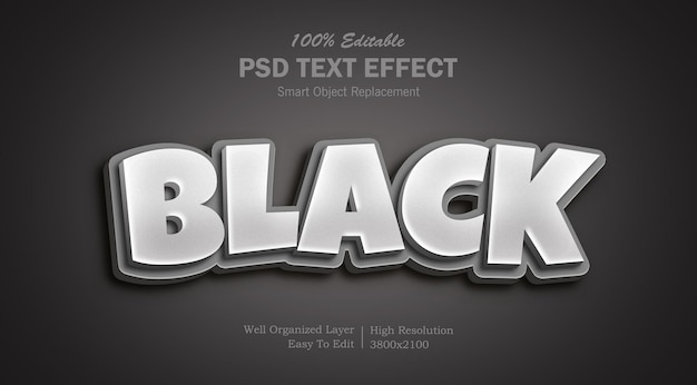 Редактируемый черный цвет photoshop 3d текстовый эффект