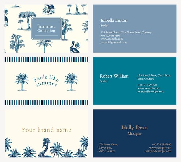 Modello di biglietto da visita modificabile psd blu tema tropicale