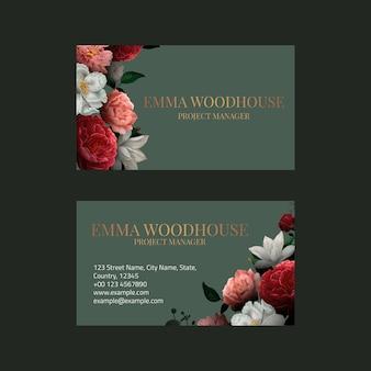 Редактируемый шаблон визитки psd в роскошном ботаническом дизайне