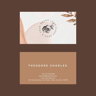 Редактируемый шаблон визитки psd в минималистичном ботаническом дизайне