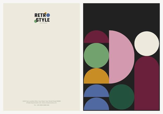 Редактируемый шаблон визитки psd в стиле ретро для модных и косметических брендов