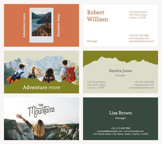 Editable business card template psd for travel agency set
