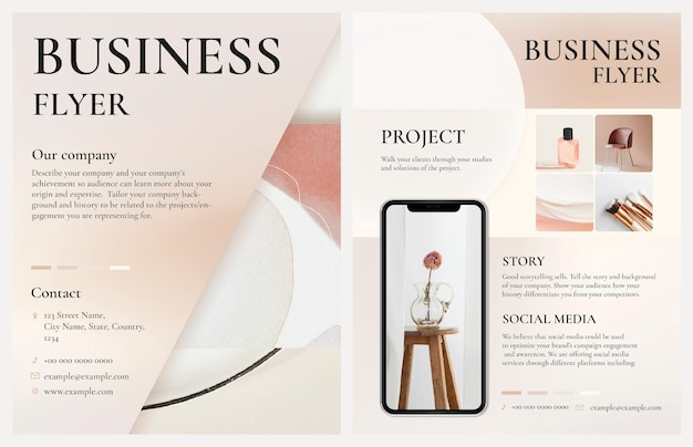 Editable business flyer template psd in feminine style design
