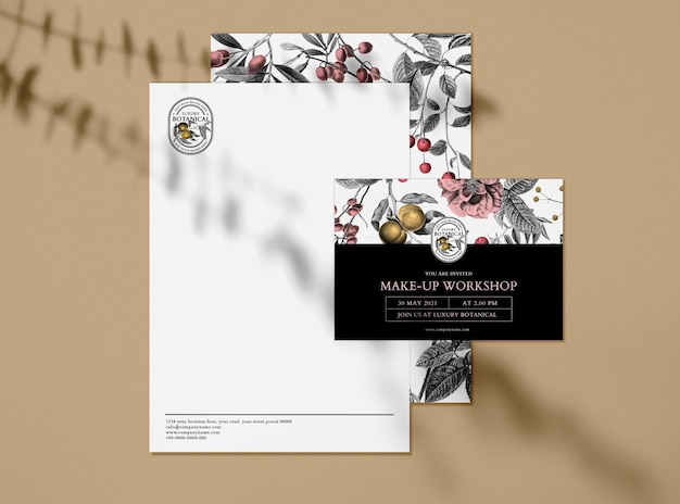Editable business invitation mockup in floral vintage theme for cosmetic brands