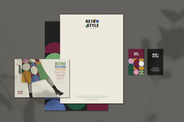 Editable business invitation   in retro style for fashion and beauty brands