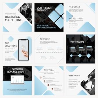 파란색 블록 소셜 미디어 포스트 세트가 있는 편집 가능한 비즈니스 프레젠테이션 템플릿 psd