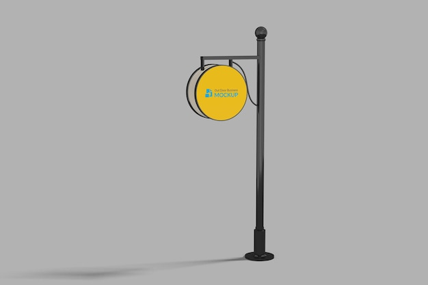 Editable circle outdoor sign logo mock up in perspective