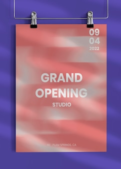 Editable clipped poster mockup for grand opening ad