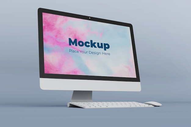 Editable computer mockup design template