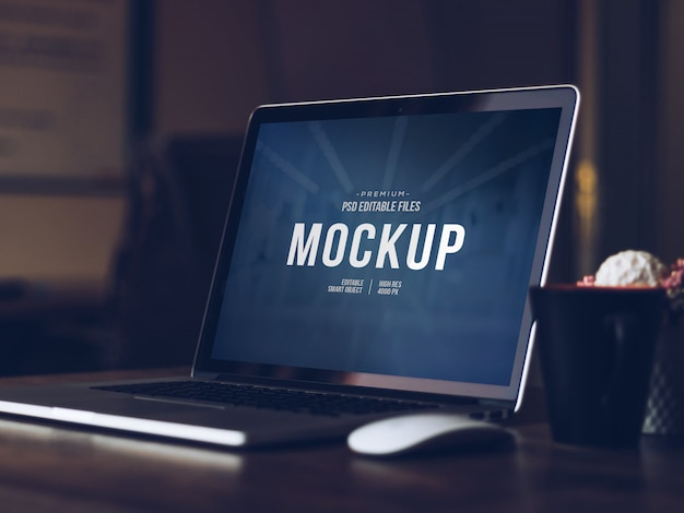 Editable computer screen mock up, isolated cut out modern laptop with shadow mockup