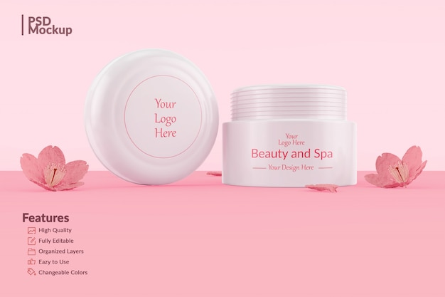 Editable cosmetic jar mockup