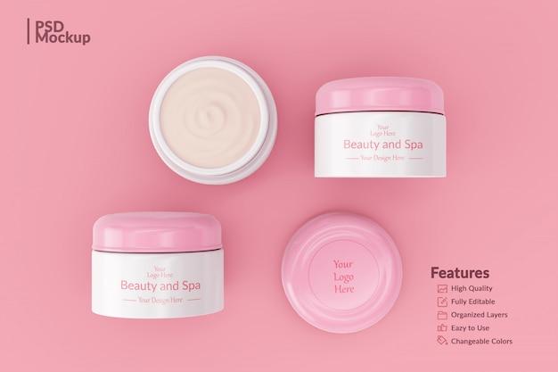 Editable cosmetic jar mockup