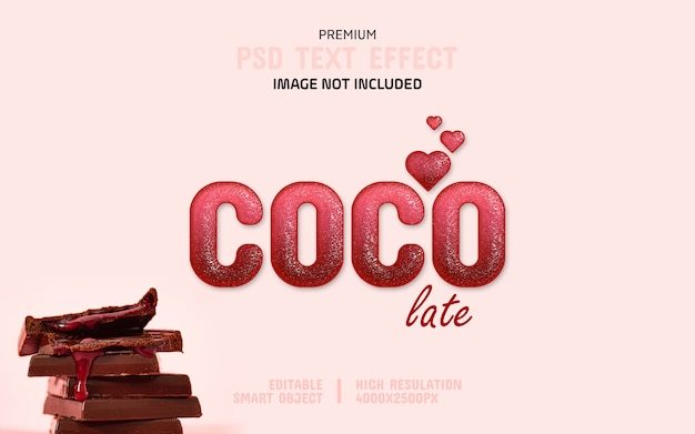 Editable dark pink chocolate text effect template