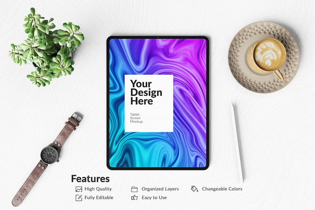 Editable digital device tablet screen mockup