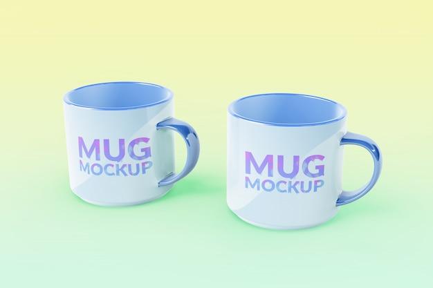 Editable double mug mockups