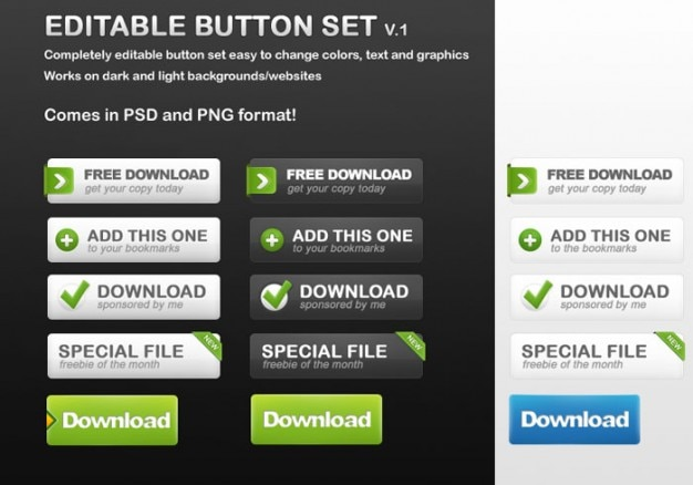 Editable download buttons set psd