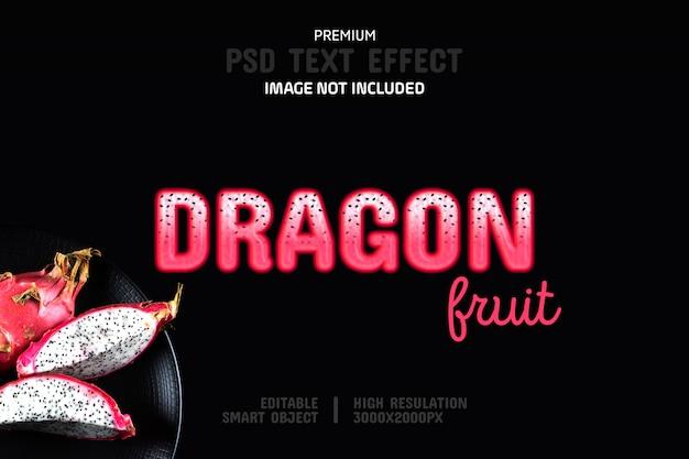Editable dragon fruit text effect template
