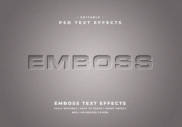 Editable embossed text style effect