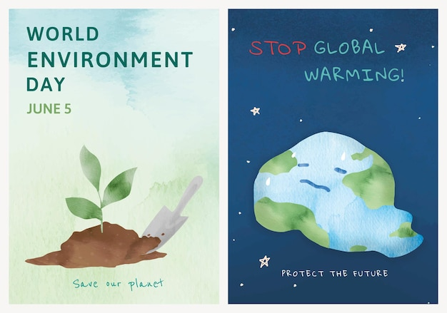Editable environment poster template psd in watercolor set