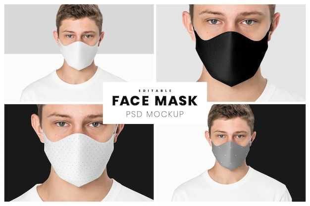 Editable face mask mockup psd template the new normal teenage fashion ad
