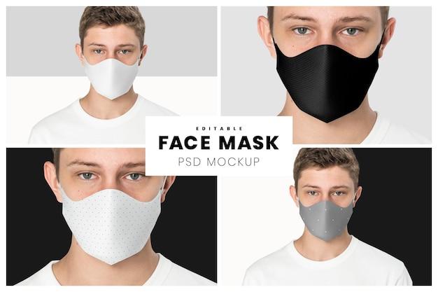 編集可能なフェイスマスクモックアップpsdテンプレート新しい通常の10代のファッション広告