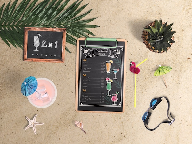Editable flat lay clipboard mockup with summer elements