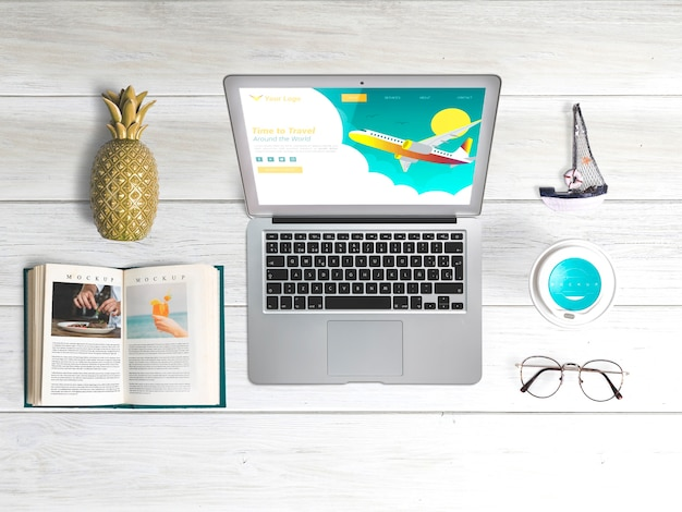 Editable flat lay laptop mockup with summer elements