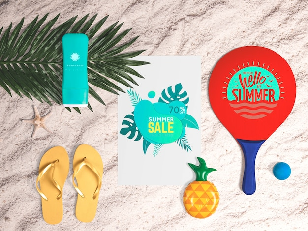 Editable flat lay paper mockup with summer elements