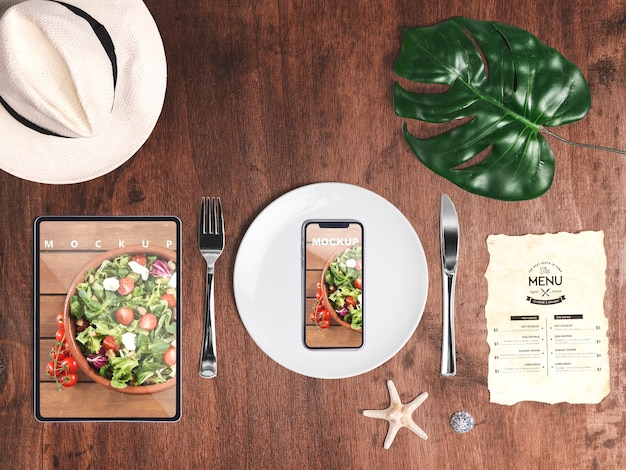 Editable flat lay smartphone mockup with summer elements