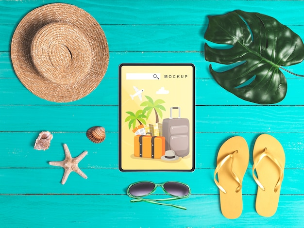 Editable flat lay tablet mockup with summer elements