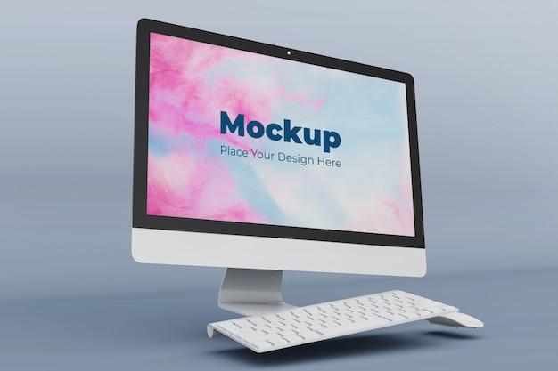 編集可能なフローティングデスクトップ画面のモックアップデザインテンプレート