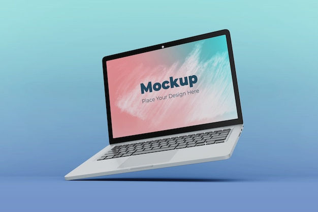 Editable floating laptop display mockup design template