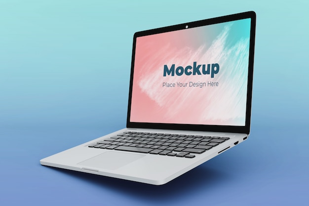 Editable floating laptop mockup design template